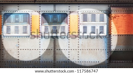 High resolution vintage railroad container doors with more rusty old and pale color. - stock photo