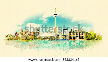 high resolution watercolor panoramic city TORONTO city illustration  - stock photo