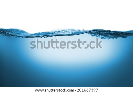 High resolution wave in clean blue water - stock photo