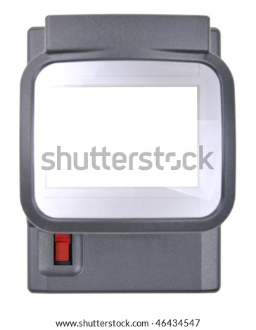 High resolution white background macro studio image of a magnifying loupe without slides. - stock photo