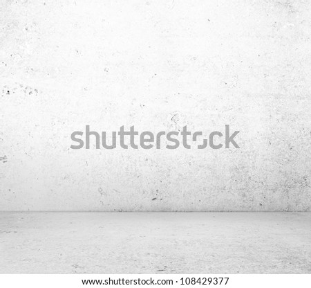 High resolution white concrete wall and floor - stock photo