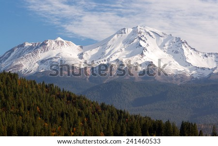 HIgh Ridge Snow Covered Mountain Cascade Range Mt Shasta - stock photo