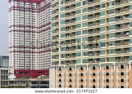 High-rise apartment buildings in Bangkok, Thailand in daylight - stock photo