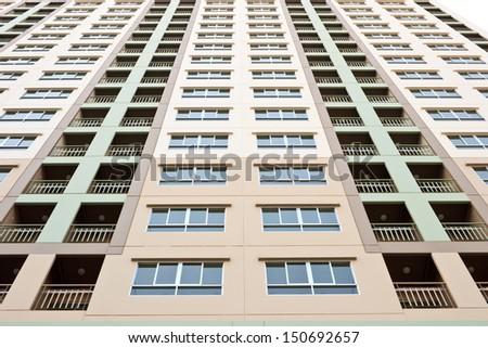 High Rise apartment condo building detail - stock photo
