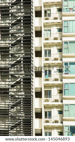 high rise apartments with sky background - stock photo