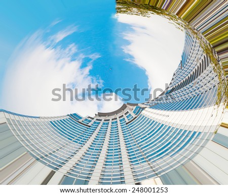 high-rise building in Miniature planet - stock photo