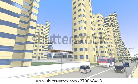 High-rise buildings and roadway - stock photo