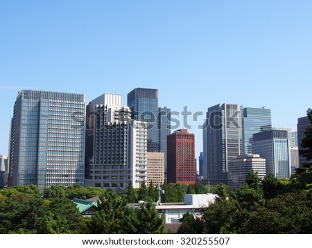 High rise buildings in Tokyo, Japan - stock photo