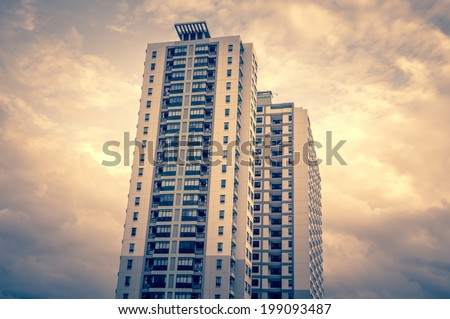 high rise condominiums - apartment service new building  - stock photo