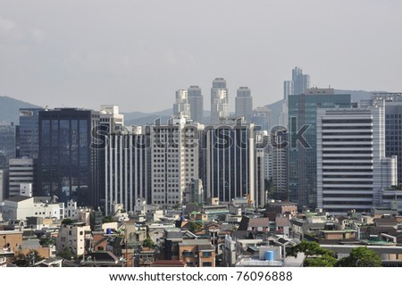 high rise office buildings in seoul korea - stock photo