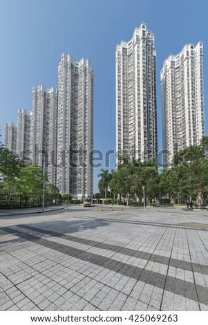 High rise residential building in Hong Kong city - stock photo