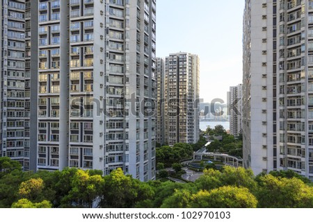 High-rise residential buildings in Hong Kong - stock photo