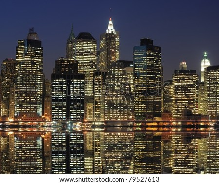 High rises along Lower Manhattan in New York City. - stock photo