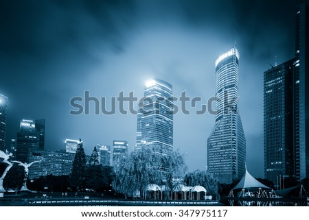 High-rises in Shanghai's new Pudong banking and business district, across the Huangpu river from the old city. - stock photo