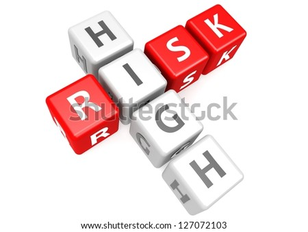 High risk in cube - stock photo