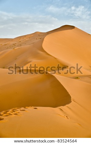 High sand dunes near Merzouga, Morocco, - stock photo
