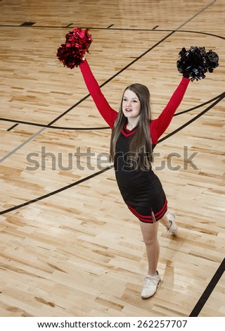 High School cheerleader at a Basketball Game  - stock photo