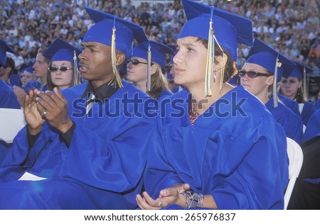 High school graduating class at their commencement ceremony, Nordhoff High School, Ojai, CA - stock photo