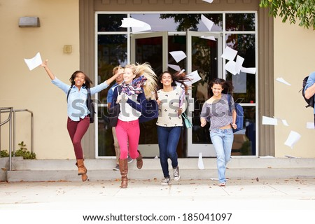 High School Pupils Celebrating End Of Term - stock photo