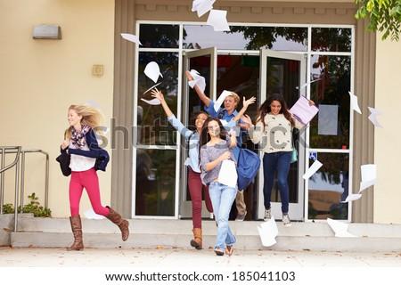 High School Pupils Celebrating End Of Term - stock photo