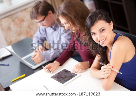 High-school students in academic campus - stock photo