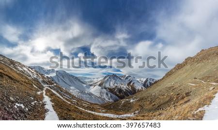 high snowy mountains of Kazakhstan - stock photo
