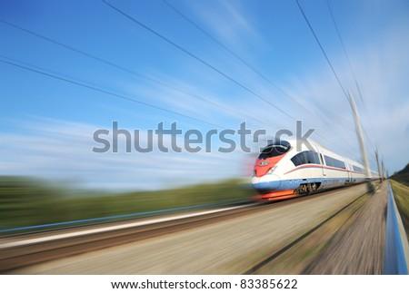 "High-speed commuter train. Express ""Peregrine"" Russia. Train ""Sapsan"" - stock photo"