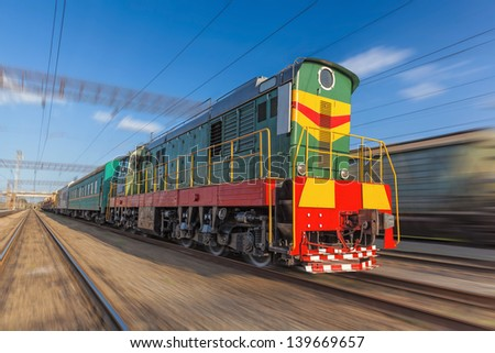 High speed diesel train on a clear day - stock photo