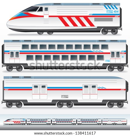 High-Speed Locomotive with Wagons. - stock photo