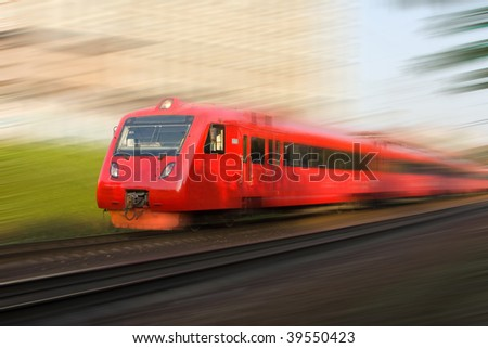 High-speed passenger train in motion - stock photo