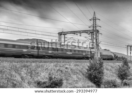 High speed train in Italy. - stock photo