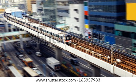 high-speed train with motion blur outdoor.  - stock photo