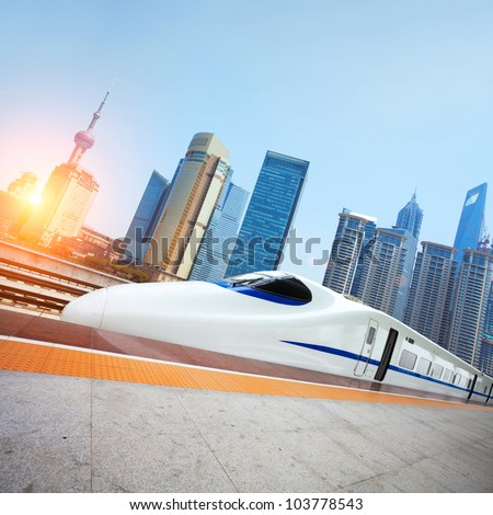 High speed trains in Shanghai - stock photo