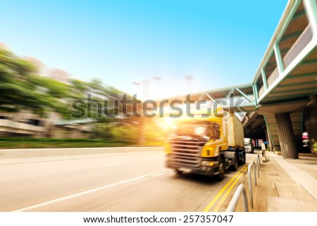 High-speed truck, motion blur pictures. - stock photo