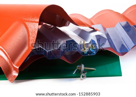 High strength polycarbonate plastic coating for parking vehicles, greenhouses, gazebos on a white background - stock photo