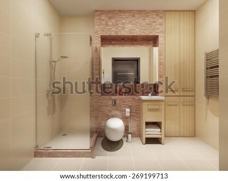 High-tech bathroom interior. 3d render - stock photo