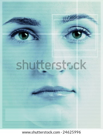 High-tech face technology background with targeted eye scan - stock photo