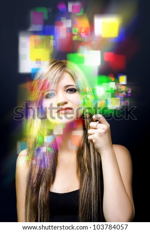 High tech image of a person pressing buttons on a advanced digital sensor screen in a depiction of the new age of digital media and business communication - stock photo