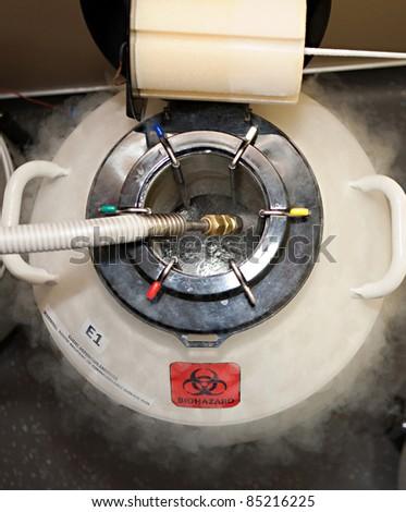 High tech lab equipment used in the in vitro fertilization process - stock photo