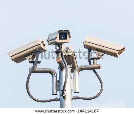 High-tech security  cameras monitoring. - stock photo