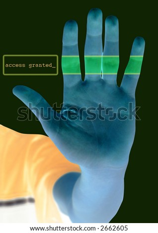 High tech security system scan hand for access or hacker or prevent online crime - access granted - stock photo