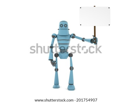 High technologies, the robot is holding in his left hand a poster on a pole, 3d render - stock photo