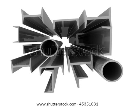 High technology background - aluminum profiles - stock photo