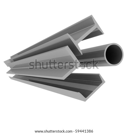 High technology background - steel profiles - stock photo