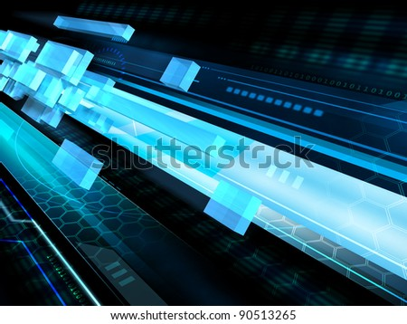 High technology background with some transparent geometric shapes flying in a tunnel. Digital illustration. - stock photo