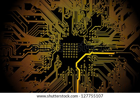 High technology background - yellow printed circuit board. - stock photo