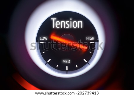 High Tension concept displayed on a gauge - stock photo