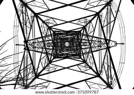 High-tension power line on white isolated background - stock photo