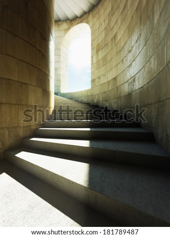 High tower with a spiral staircase - stock photo