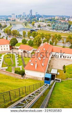 High up view of Vilnius from Gediminas hill - stock photo